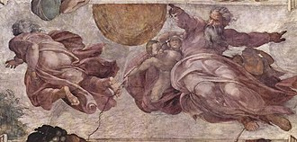 Restoration of the Sistine Chapel frescoes - The Creation of the Sun, Moon and Vegetation, ceiling fresco by Michelangelo, pre-restoration