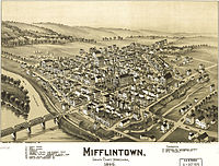 Mifflintown, Pennsylvania birdseye map by Fowler (1895). loc call no g3824m-pm008027.jpg