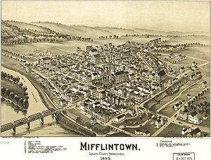Mifflintown, Pennsylvania birdseye map by Fowler (1895). loc call no g3824m-pm008027.jpg