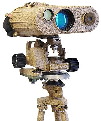 Laser rangefinder - A long range laser rangefinder is capable of measuring distance up to 20 km; mounted on a tripod with an angular mount. The resulting system also provides azimuth and elevation measurements.