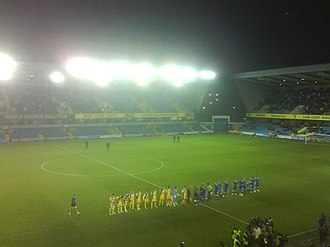 South London derby - AFC Wimbledon and Millwall players met for the first time at The Den in 2009.