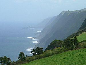 Velas - Northern coast of Velas, showing Fajã de Fernando Afonso, as seen from the Park of Sete Fontes