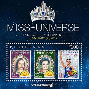 Pia Wurtzbach - A set of commemorative stamps issued by the Philippine Post Office honoring the three Miss Universes of the Philippines.