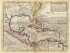 "History of Cuba - A 1736 colonial map by Herman Moll of the West Indies and Mexico, together comprising ""New Spain"", with Cuba visible in the center"