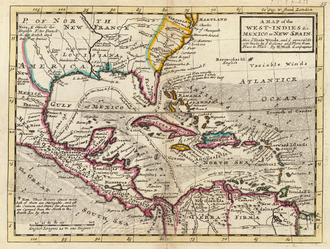 """History of Cuba - A 1736 colonial map by Herman Moll of the West Indies and Mexico, together comprising """"New Spain"""", with Cuba visible in the center"""