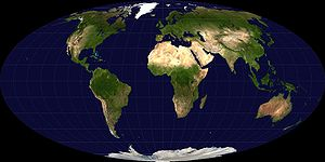 Outline of geography -  The equal-area Mollweide projection