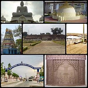 Amaravathi (village), Guntur district - Clockwise from top left:Dhyana Buddha statue, Replica of Mahachaitya, Amareswara Ghat, Mahachaitya Relief, Amaravathi Main Road, Amareswara Temple, Mahachaitya Ruins