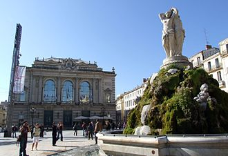 Place de la Comédie - The Opéra Comédie and the Three Graces fountain on the Place de la Comédie.