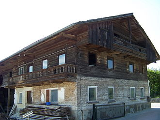 Log house - Log building in German is known as Blockbau. Farmhouse, Bavaria, Germany