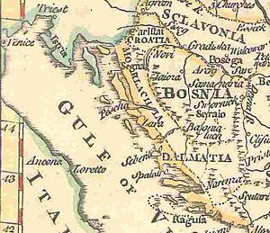 "Morlachs - ""Morlachia"" in the 17th century, map by Thomas Jefferys (1785)."