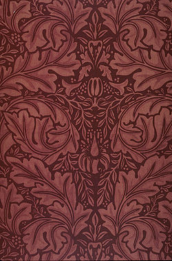Block printed velveteen fabric designed by William Morris.