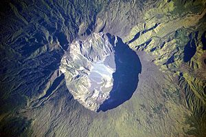 The summit caldera of the volcano.