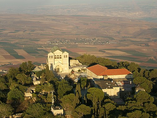 Aerial view of the Church of Transfiguration at the summit, which is divided into Eastern Orthodox (northeast) and Roman Catholic (southeast) areas. Mount of transfiguration is.JPG
