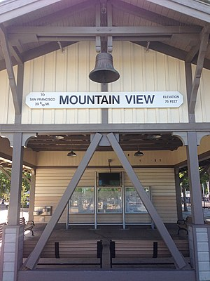 Downtown Mountain View Station - Image: Mountain View California station sign