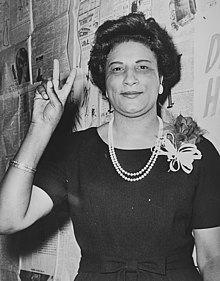 Mrs. Constance B. Motley, first woman Senator, 21st Senatorial District, N.Y., raising hand in V sign (cropped).jpg