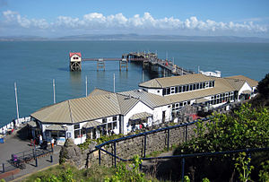 Mumbles Pier - Pier with amusement arcade and cafe in Spring 2008.