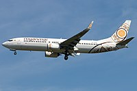 Myanmar National Airlines Boeing 737-800 on finals at Beijing Capital.jpg
