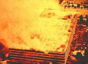 National Personnel Records Center fire - Fire underway, 1973, Aerial View of MILPERCEN, National Archives.