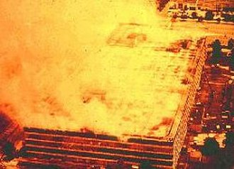 Military Personnel Records Center - The 1973 fire in progress