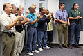 NASA Goddard engineers watch STS-135's return from orbit.jpg