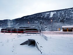 NSB Class 93 train at Røkland Station in February 2013.JPG