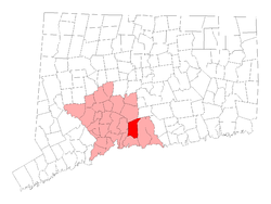 Location of North Branford, Connecticut