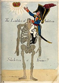 Napoléon climbing a headless skeleton trying to reach an una Wellcome V0011313.jpg
