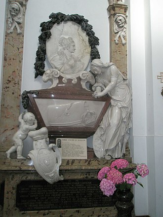 Maria Karolina Sobieska - Tombstone of Charlotte in the St. Kazimierz Church in Warsaw, carved by Lorenzo Mattielli