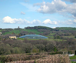 View From Over The Great Glhouse At National Botanic Garden Of Wales Towards Paxton S Tower