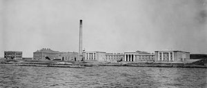 Naval War College - Photo of the early Naval War College from the east passage of Narragansett Bay