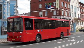 Neftekamsk Automotive Plant -  Shuttle Bus NefAZ 5299 in Kazan (supplied several hundred such low-entry red buses during and after the urban transport reform in 2007)