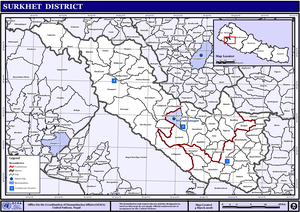 Surkhet District - VDCs and Municipalities (blue) in Surkhet District