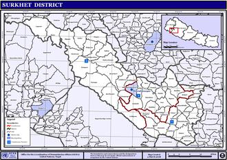 Inner Terai Valleys of Nepal - Map of the VDCs in Surkhet District
