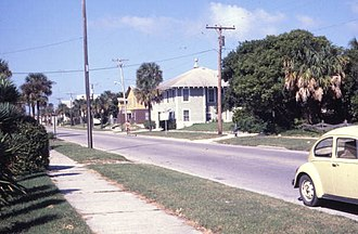 Neptune Beach, Florida - Looking north along 1st St. at Neptune Beach in 1979.