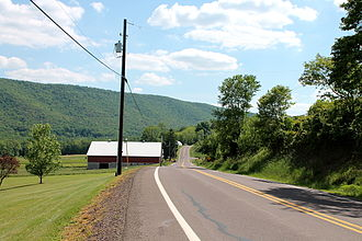 Nescopeck Mountain - Nescopeck Mountain and Pennsylvania Route 339 from the north in Mifflin Township, Columbia County, Pennsylvania