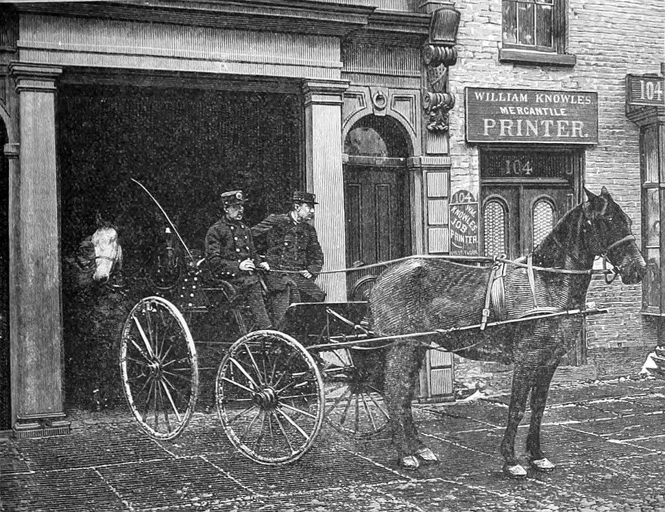 New York City Fire Department Battalion Chief John J. Bresnan (left) answering a call (1887)