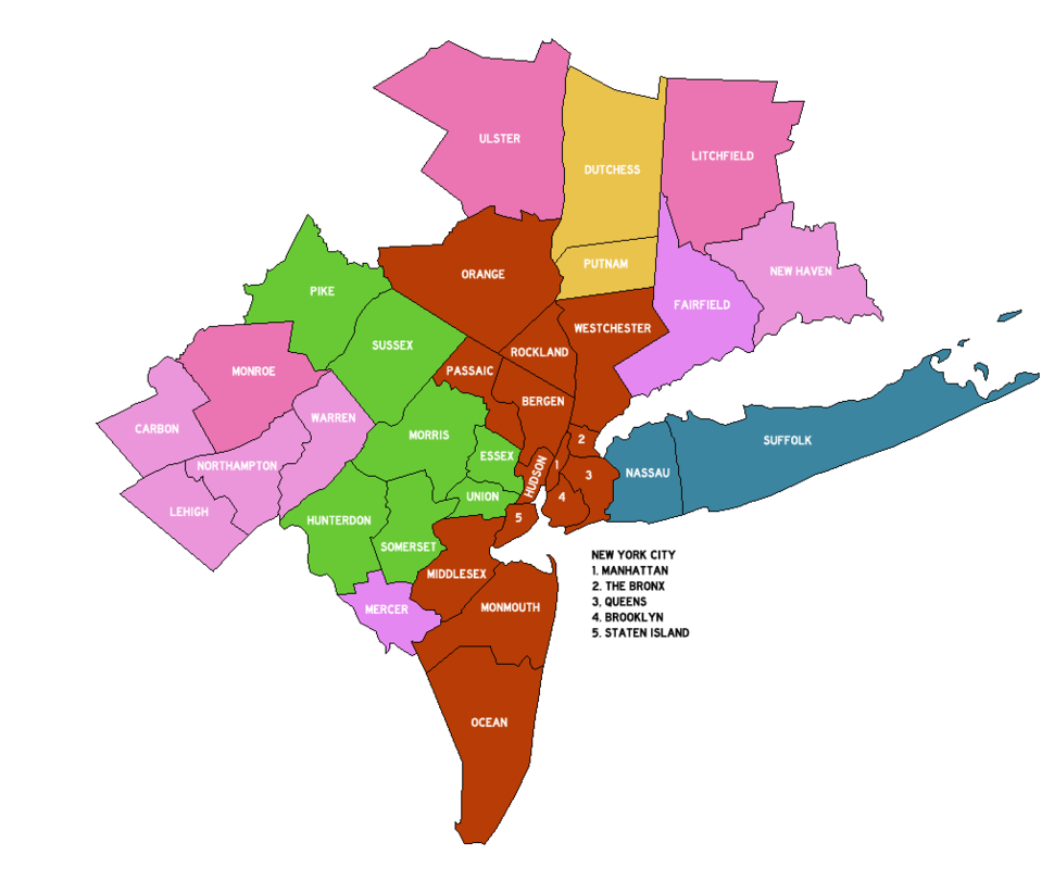 New York Metropolitan Area Counties 2013