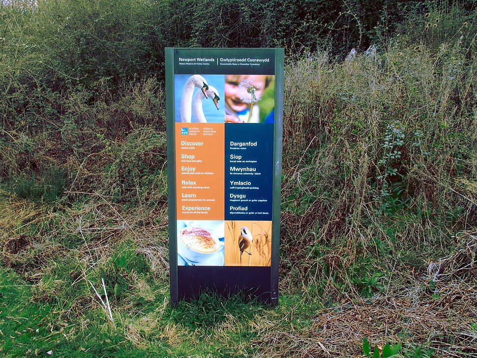 Newport Wetlands RSPB Nature Reserve Visitors Centre Sign in English and Welsh