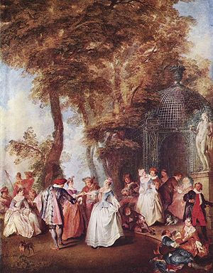 Fête champêtre - 18th century courtiers in fancy dress, at a fête champêtre in a landscaped park