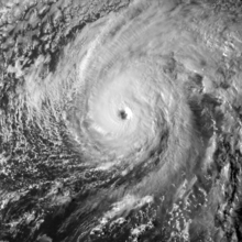 A visible satellite image of Hurricane Nicole nearing Category 4 intensity on October 12