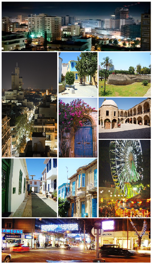 From upper left: Nicosia skyline, Houses inside the walls, Venetian walls of Nicosia, Pancyprian Gymnasium and Buyuk Han