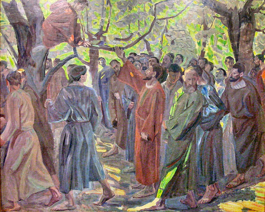 Painting showing Jesus holds up his hand to call Zacchaeus down from the tree while a crowd watches