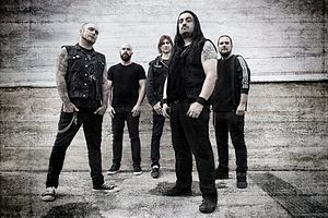 Nightrage - Nightrage in 2017. Left to right: Ronnie Nyman (vocals), Anders Hammer (bass), Magnus Söderman (guitar), Marios Iliopoulos (guitar), Lawrence Dinamarca (Drums)