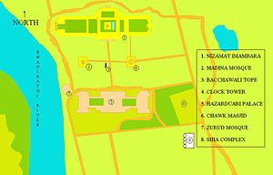 Madina Mosque (Bengal) - A larger map of the Nizamat Fort Campus, showing the Nizamat Imambara in yellow and other buildings surrounding it, including the old Madina Mosque, the Hazarduari Palace, Chawk Masjid, Bacchawali Tope, the clock tower, the Shia Complex, and the Zurud Mosque