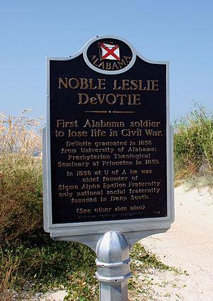 Noble Leslie DeVotie - Historical marker about Noble Leslie DeVotie at Fort Morgan.