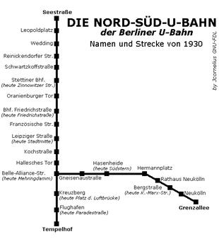 Nord-Süd-Bahn U-Bahn Berlin Karte