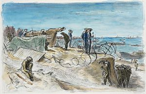 Edward Ardizzone - Normandy June 1944 – Naval Control Post on the Beaches (1944) (Art.IWM ART LD 4392)