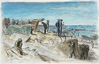 Edward Ardizzone - Normandy June 1944 – Naval Control Post on the Beaches (1944) (Art.IWM ART LD 4392)