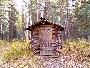 Outhouse - Log outhouse at a public-use cabin, Chena River State Recreation Area, Alaska