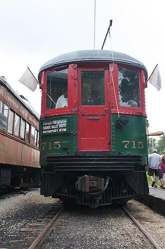 Fox River Trolley Museum - Image: North Shore 715 Unloads